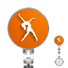 Dance Dancing Orange Girl Stainless Steel Nurses Watch by Alisyart