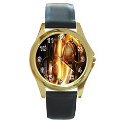 Digital Art Gold Round Gold Metal Watch by Alisyart