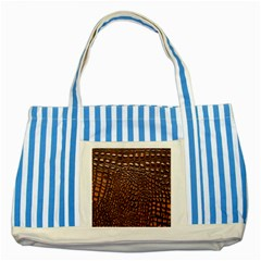 Crocodile Skin Striped Blue Tote Bag