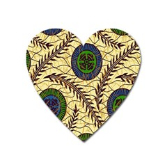 Fabrick Batik Brown Blue Green Leaf Flower Floral Heart Magnet by Alisyart