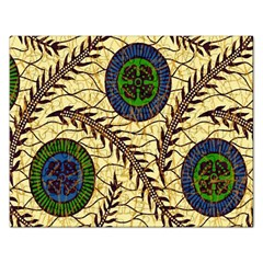 Fabrick Batik Brown Blue Green Leaf Flower Floral Rectangular Jigsaw Puzzl