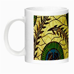 Fabrick Batik Brown Blue Green Leaf Flower Floral Night Luminous Mugs by Alisyart