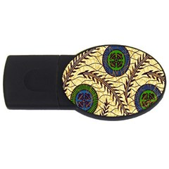 Fabrick Batik Brown Blue Green Leaf Flower Floral Usb Flash Drive Oval (4 Gb) by Alisyart