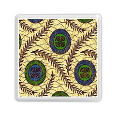 Fabrick Batik Brown Blue Green Leaf Flower Floral Memory Card Reader (square)