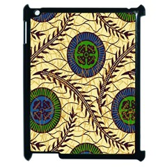 Fabrick Batik Brown Blue Green Leaf Flower Floral Apple Ipad 2 Case (black) by Alisyart