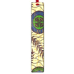 Fabrick Batik Brown Blue Green Leaf Flower Floral Large Book Marks by Alisyart