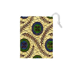 Fabrick Batik Brown Blue Green Leaf Flower Floral Drawstring Pouches (small)  by Alisyart