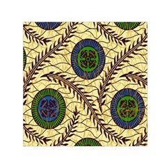 Fabrick Batik Brown Blue Green Leaf Flower Floral Small Satin Scarf (square)