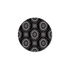 Circle Plaid Black Floral Golf Ball Marker (10 Pack)