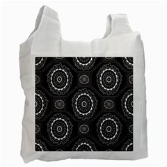 Circle Plaid Black Floral Recycle Bag (two Side)