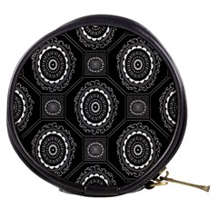 Circle Plaid Black Floral Mini Makeup Bags by Alisyart