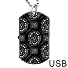 Circle Plaid Black Floral Dog Tag Usb Flash (one Side)