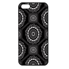 Circle Plaid Black Floral Apple Iphone 5 Seamless Case (black)