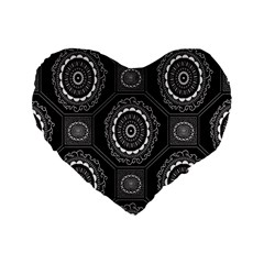 Circle Plaid Black Floral Standard 16  Premium Heart Shape Cushions