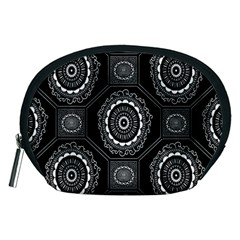 Circle Plaid Black Floral Accessory Pouches (medium)