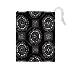 Circle Plaid Black Floral Drawstring Pouches (large)  by Alisyart