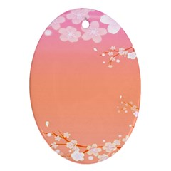 Flower Season Pink Purple Red Oval Ornament (two Sides)