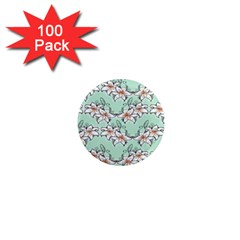 Flower Floral Lilly White Blue 1  Mini Magnets (100 Pack)