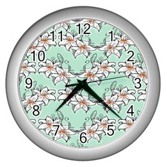 Flower Floral Lilly White Blue Wall Clocks (silver)  by Alisyart