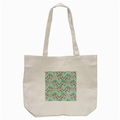 Flower Floral Lilly White Blue Tote Bag (cream)