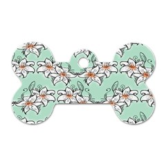 Flower Floral Lilly White Blue Dog Tag Bone (two Sides)