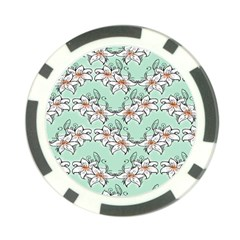 Flower Floral Lilly White Blue Poker Chip Card Guard