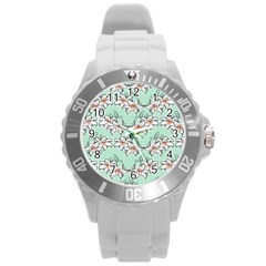 Flower Floral Lilly White Blue Round Plastic Sport Watch (l)