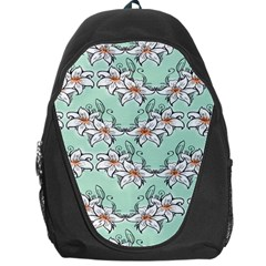 Flower Floral Lilly White Blue Backpack Bag