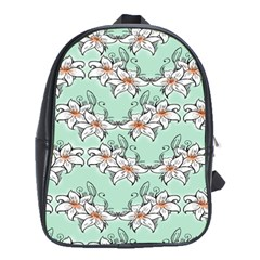 Flower Floral Lilly White Blue School Bags (xl)  by Alisyart