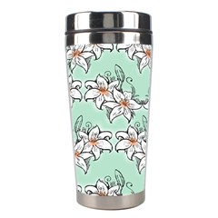 Flower Floral Lilly White Blue Stainless Steel Travel Tumblers
