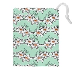Flower Floral Lilly White Blue Drawstring Pouches (xxl) by Alisyart