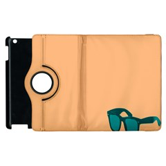 Glasses Blue Orange Apple Ipad 3/4 Flip 360 Case by Alisyart