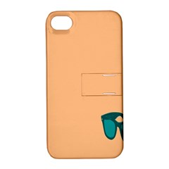 Glasses Blue Orange Apple Iphone 4/4s Hardshell Case With Stand