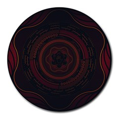 Hand Illustration Graphic Fabric Woven Red Purple Yellow Round Mousepads