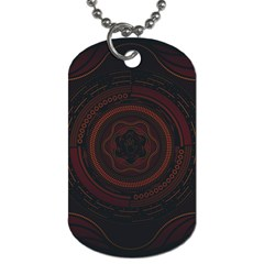 Hand Illustration Graphic Fabric Woven Red Purple Yellow Dog Tag (two Sides) by Alisyart