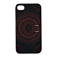 Hand Illustration Graphic Fabric Woven Red Purple Yellow Apple Iphone 4/4s Hardshell Case With Stand