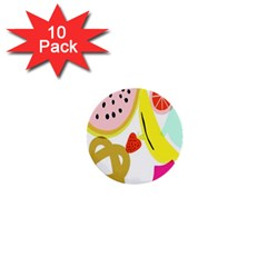 Fruit Watermelon Strawberry Banana Orange Shoes Lime 1  Mini Buttons (10 Pack)