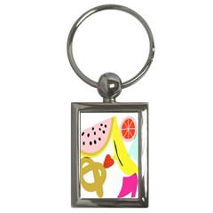 Fruit Watermelon Strawberry Banana Orange Shoes Lime Key Chains (rectangle)  by Alisyart