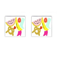 Fruit Watermelon Strawberry Banana Orange Shoes Lime Cufflinks (square) by Alisyart