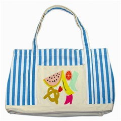 Fruit Watermelon Strawberry Banana Orange Shoes Lime Striped Blue Tote Bag by Alisyart