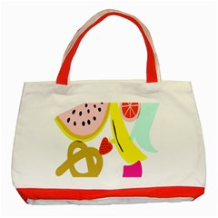 Fruit Watermelon Strawberry Banana Orange Shoes Lime Classic Tote Bag (red) by Alisyart