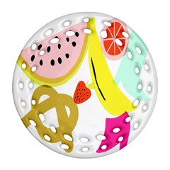 Fruit Watermelon Strawberry Banana Orange Shoes Lime Round Filigree Ornament (two Sides) by Alisyart