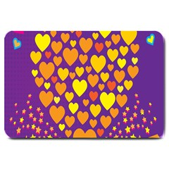 Heart Love Valentine Purple Orange Yellow Star Large Doormat  by Alisyart