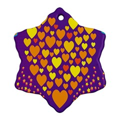 Heart Love Valentine Purple Orange Yellow Star Snowflake Ornament (two Sides)