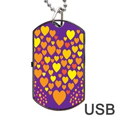 Heart Love Valentine Purple Orange Yellow Star Dog Tag Usb Flash (one Side)