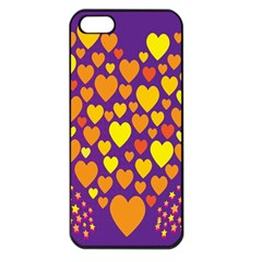 Heart Love Valentine Purple Orange Yellow Star Apple Iphone 5 Seamless Case (black)
