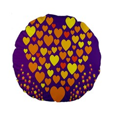 Heart Love Valentine Purple Orange Yellow Star Standard 15  Premium Round Cushions by Alisyart
