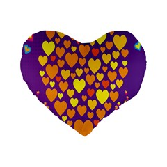 Heart Love Valentine Purple Orange Yellow Star Standard 16  Premium Heart Shape Cushions by Alisyart