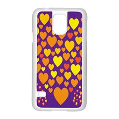 Heart Love Valentine Purple Orange Yellow Star Samsung Galaxy S5 Case (white)
