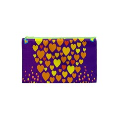 Heart Love Valentine Purple Orange Yellow Star Cosmetic Bag (xs)